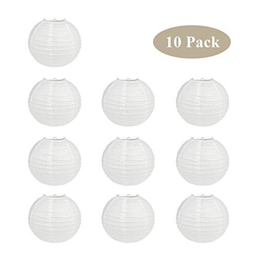 TSSS-10-Stk-10-Wei-Rund-Papier-Laternen-Kugel-Form-Lampenschirm-Fr-Hochzeit-Kirche-Garten-Party-Dekoration