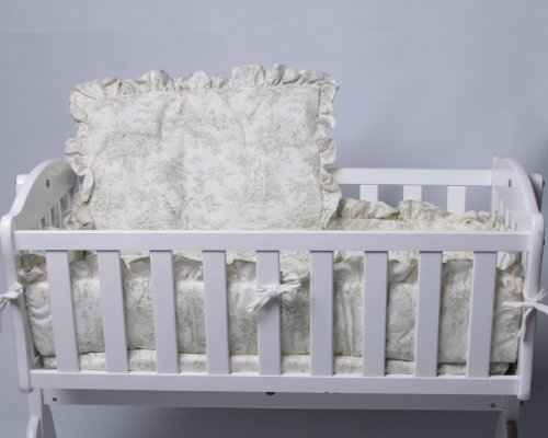 Baby Doll Bedding Toile Cradle Set, Green