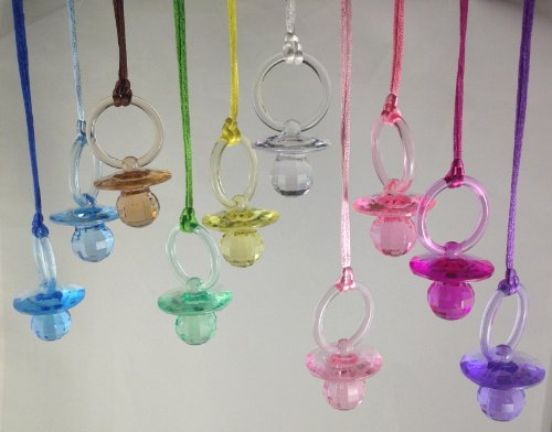 "60 Pcs 2-1/2"" Mixed 10 Colors Fancy Plastic Pacifier Necklaces ""Don'T Say Baby!"" For Baby Shower Party Game/ Favors front-432329"