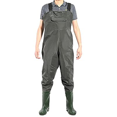 PVC Waterproof Chest Waders Size 8 9 10 Carp Fly Coarse Fishing Green With Boot? from Surepromise