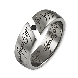 Lord Of The Rings - The One Ring Stainless Steel With Cubic Zirconia Black - Size N