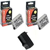2 Canon LP-E8 Replacement Batteries 2000MAH Each Extended Life Li-ion Battery Packs for Canon EOS Digital Rebel T2i (550D) SLR Camera + 1 Hour Rapid AC/DC Charger 110/220V
