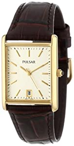 Pulsar Men's PXDA84 Gold-Tone Stainless Steel Brown Leather Strap