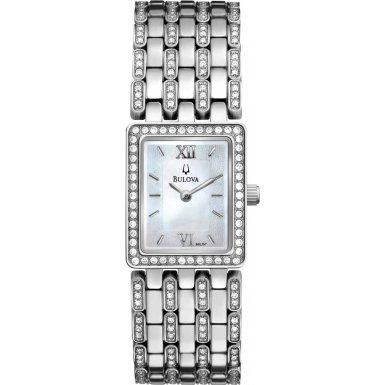 Bulova 96L157 Ladies Crystal Silver Watch