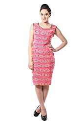 iamme Leather Binding traditional Pattern knee length dress with round neck & sleeveless