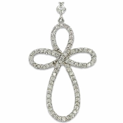 Sterling Silver Bow Cross and Drop-Y Chain with Crystal Cubic Zirconia Stones on 18