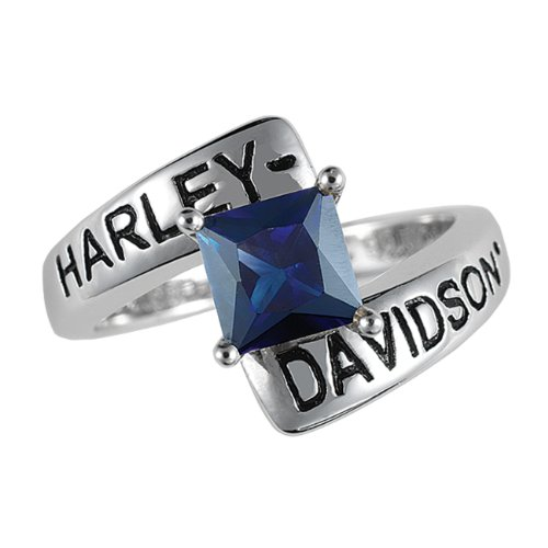 Sterling Silver Harley-Davidson Ladies Crossroads Birthstone Ring - September Faux Sapphire