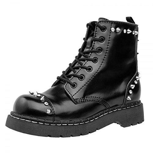T.U.K. Scarpe in pelle, colore: nero con 7Occhio anarchico Stivali, nero (Black), 36 EU