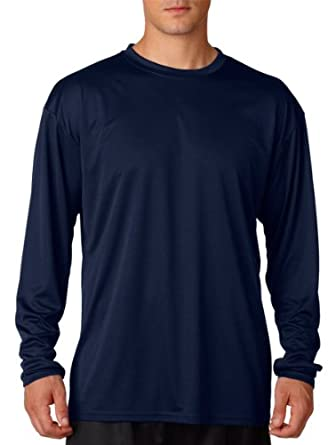 A4 Mens Cooling Performance Long Sleeve Shirts Small Navy