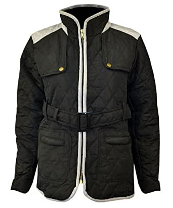 New Womens Quilted F Zip Shoulder Panel Elbow Patch Ladies Piping Belted Jacket Coat Black Navy Dark Grey Wine Size 8 10 12 14 (8, Black)