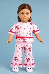Perfect Sleepover - Pink cozy pajama with white bunny slippers - Clothes for American Girl Dolls