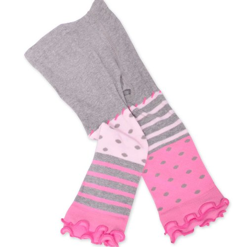 Naartjie Girls Stripes With Dots Legging With Ruffle Bottom (6-12Months, Heather Gray) front-975466