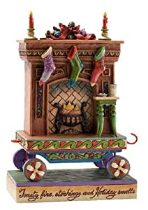 #!Cheap Enesco Jim Shore Heartwood Creek Fireplace Mantle Christmas Train Figurine, 7-1/4-Inch