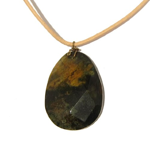 Bloodstone Necklace 02 Pendant Faceted Green Yellow Tan Leather Crystal Healing Gemstone 18