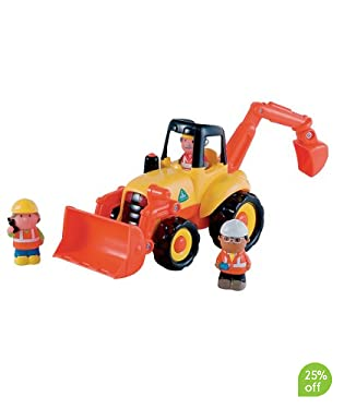 Pressing the chimney or seat makes digger and engine sounds  Headlights light up  Includes 3 construction figures  Requires 2 x AA batteries  Suitable from 1 - 3 years