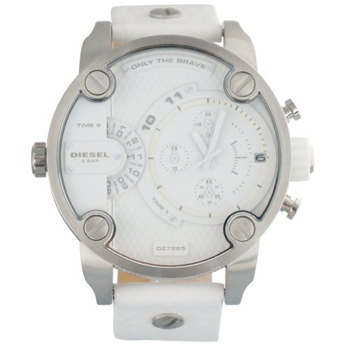Diesel DZ7265 oversize multi-functioned white dial white leather strap men watch NEW