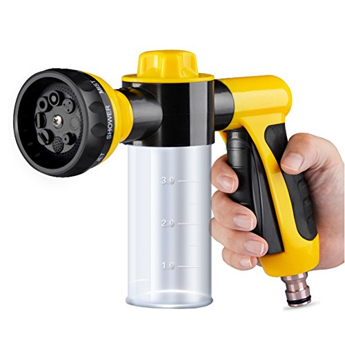 Minse Multifunctional Foam Car Washer Water Gun, High Pressure, for Yard Home Vehicle Washing (Yellow) (Wash Car Pistol compare prices)