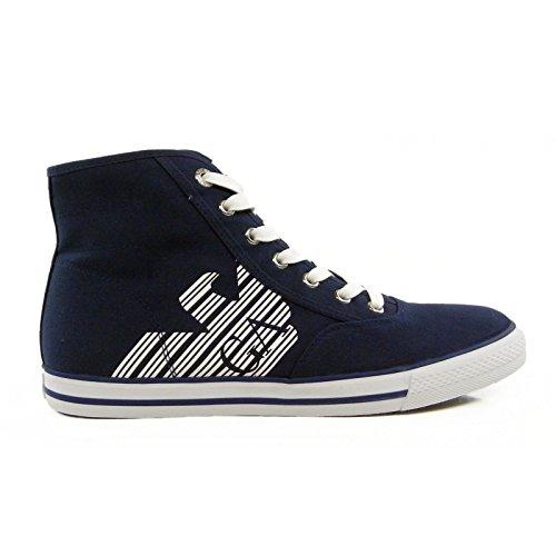 Scarpe uomo EA7 EMPORIO ARMANI, sneaker alta canvas blu art. 288029 6P299 (42 2/3, BLU)
