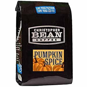 Christopher Bean Coffee Flavored Whole Bean Coffee, Pumpkin Spice, 12 Ounce
