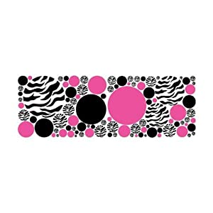 Amazon.com - Zebra Print, Black and Hot Pink Dots/Wall Stickers ...