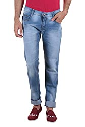 Routeen Light Blue Washed Slim Fit Cotton Jeans for Men