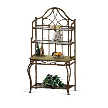 Dark antique brushed metal baker s rack rustic smart deals