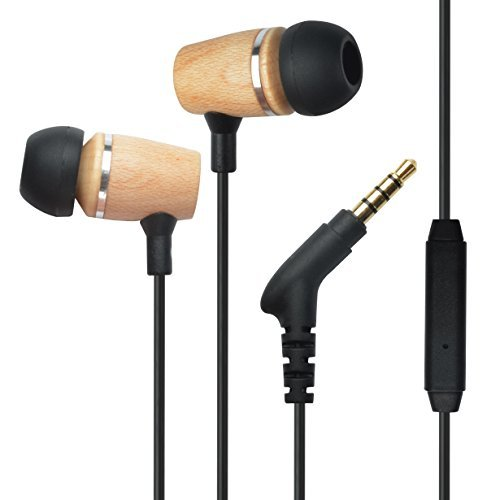 Francois et Mimi Elite Genuine 3.5mm Wood In-ear Noise-isolating Earbuds Headphones with Mic, Retail Packaging (Panasonic Headphones Hje120 compare prices)