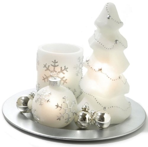Flameless LED Hand Painted 10 PC Candle/Ornament Set w/ Silver Tray (Christmas Tray compare prices)
