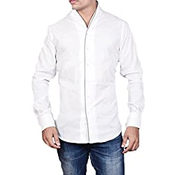 Dazzio Mens Slim Fit Cotton Casual Shirt (DZSH0037_White_38)