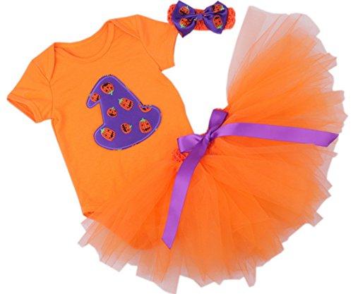 [CAKYE Baby Girl Halloween Costumes Infant Pumpkin Tutu Dress Headband 3PCs (Meduim (6-9 months),] (Cute Halloween Costumes For Newborn Babies)