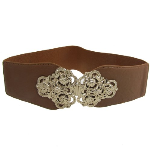 Woman Interlocking Buckle Brown Textured Elastic Fabric Waist Belt