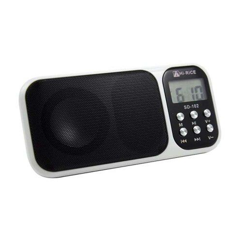 hi rice portable mini digital media speaker with fm radio usb micro sd slot l. Black Bedroom Furniture Sets. Home Design Ideas