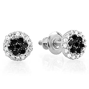 0.30 Carat (ctw) 10K White Gold Black & White Diamond Ladies Cluster Flower Stud Earrings 1/3 CT