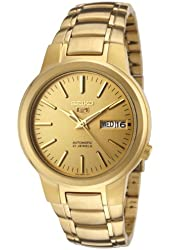 Seiko Men's SNKA10 Seiko 5 Automatic Gold Dial Gold-Tone Stainless Steel Watch