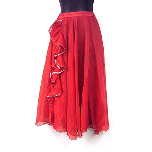 Belly Dance Tango Salsa Long Chiffon Sequin Edge Ruffle Slit Skirt -RED SILVER [KID SIZE]