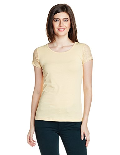 Style Quotient By NOI Women's Lace T-Shirt (SS16SQTINA_Cream_Small)  available at amazon for Rs.199