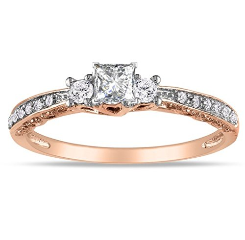 0.58 Carat Trilogy Affordable Diamond Engagement Ring with Princess cut Diamond on 18K Rose gold