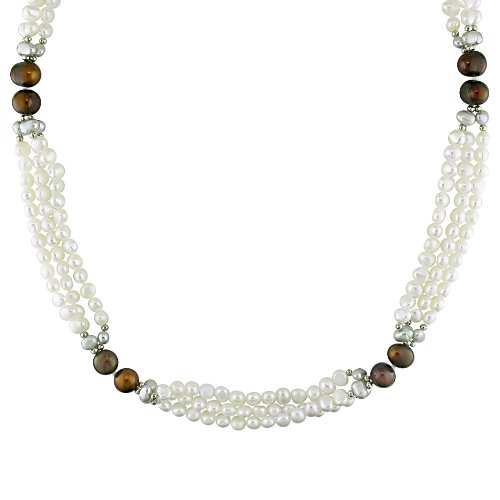 Fresh Water Multi Colored Pearl Endless 3 Strand Necklace With Brass (8-9 mm)