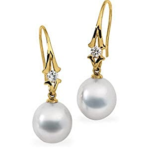 IceCarats Designer Jewelry South Sea Cultured Pearl And Diamond Earring  - 18K Yellow Gold
