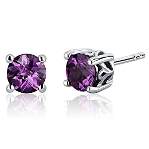 Scroll Design 2.50 Carats created Alexandrite Round Cut Stud Earrings in Sterling Silver Rhodium Nickel Finish from Peora