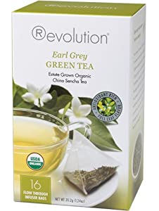 Revolution Tea, Green Earl Grey (Certified Organic), 16 Flow-through Infuser Bags in a Stay-Fresh Container