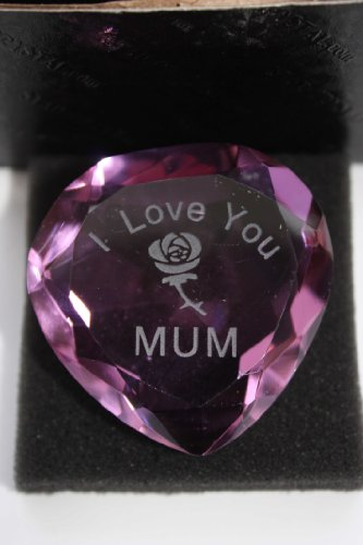 Engraved Purple Crystal Heart,