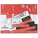 Canson Foundation Series Bristol Paper Pad, Heavyweight Paper for Pencil, Vellum Finish, Fold Over, 100 Pound, 11 x 14 Inch, Bright White, 15 Sheets (Color: 0, Tamaño: 11