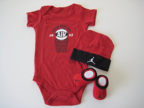 Nike Jordan Baby 0-6 Months Lap/Shoulder Bodysuits,Booties and Cap With Jordan Logo 3 PCS Set
