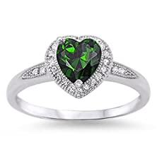 buy Simulated Emerald Green Heart Sterling Silver Promise Ring (4)
