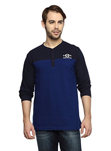 Teen Tees Men's Cotton Pique Embroidered Navy with Ink Blue Colour Full Sleeves Henley Neck Tshirt