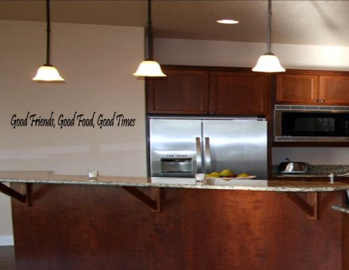 GOOD FRIENDS, GOOD FOOD, GOOD TIMES Vinyl wall quotes and sayings home art decor decal