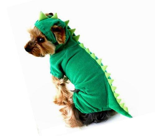 Dogs Cat Pets Jumpsuit Crocodile Clothes Godzilla Apparel Dragon T-rex Dinosaur Raptor Plush Costumes T Shirt Green / Red (Grass-green 4 Legs, Medium)