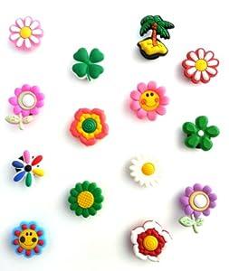14 pcs Cute Flowers Set of Shoe Charms Buttons