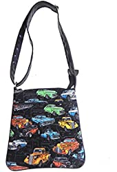 """US HANDMADE FASHION CROSS OVER BODY BAG WITH """"CLASSIC CARS"""" PATTERN SHOULDER BAG WITH ADJUSTABLE HANDLE, Cotton Fabric, New, CSOP 3123"""
